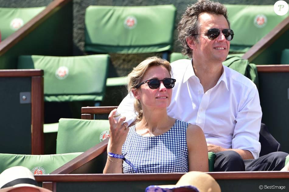 Anne sophie lapix et son mari arthur sadoun lors de la demi finale des internationaux de tennis - Sophie jovillard et son mari ...
