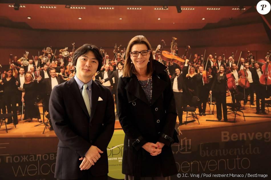 Exclusif - La princesse Caroline de Hanovre avec le chef d'orchestre japonais Kazuki Yamada lors de la Conférence de presse de l'OPMC à l'auditorium de Monaco pour le lancement de la saison 2016/2017 le 1er avril 2016 © J.C. Vinaj / Pool restreint Monaco / BestImage