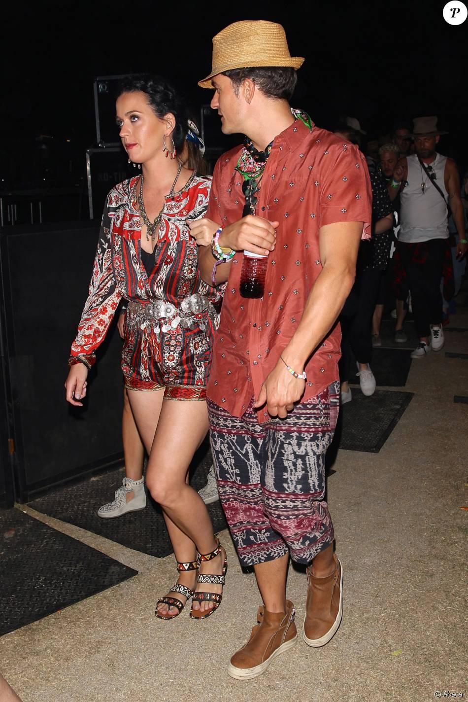Katy Perry et Orlando Bloom lors du festival de Coachella dans la vallée de l'Indio, le 17 avril 2016