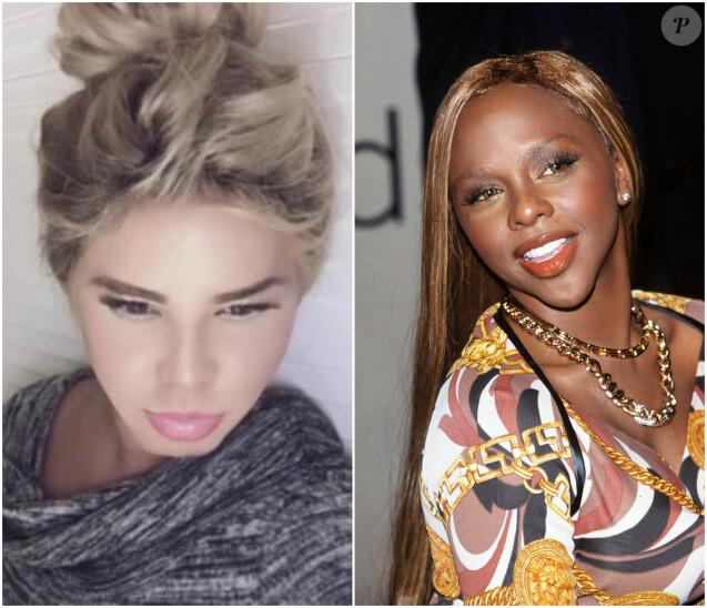 Lil' Kim avant et après la chirurgie : à gauche en 2016, à droite en 2001.