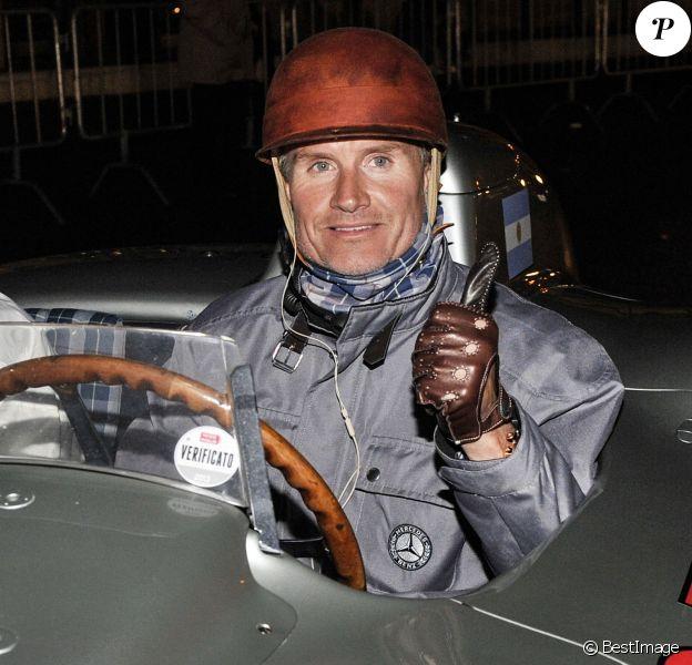 David Coulthard lors d'une course automobile organisée à Brescia en Italie, le 16 mai 2013