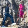 Heidi Klum et Vito Schnael quittent l'hôtel Eden Roc pour passer à la journée sur un yatch à Cannes, le 15 mai 2016