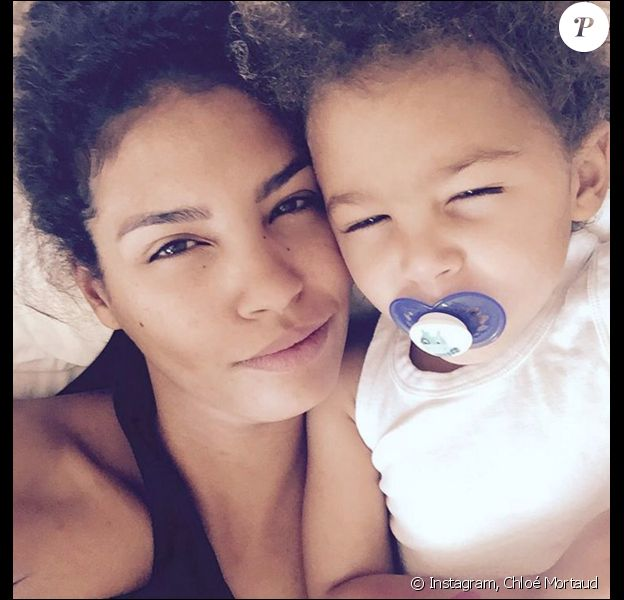 Chloé Mortaud et son fils Matis, le 23 mai 2016 à Las Vegas.