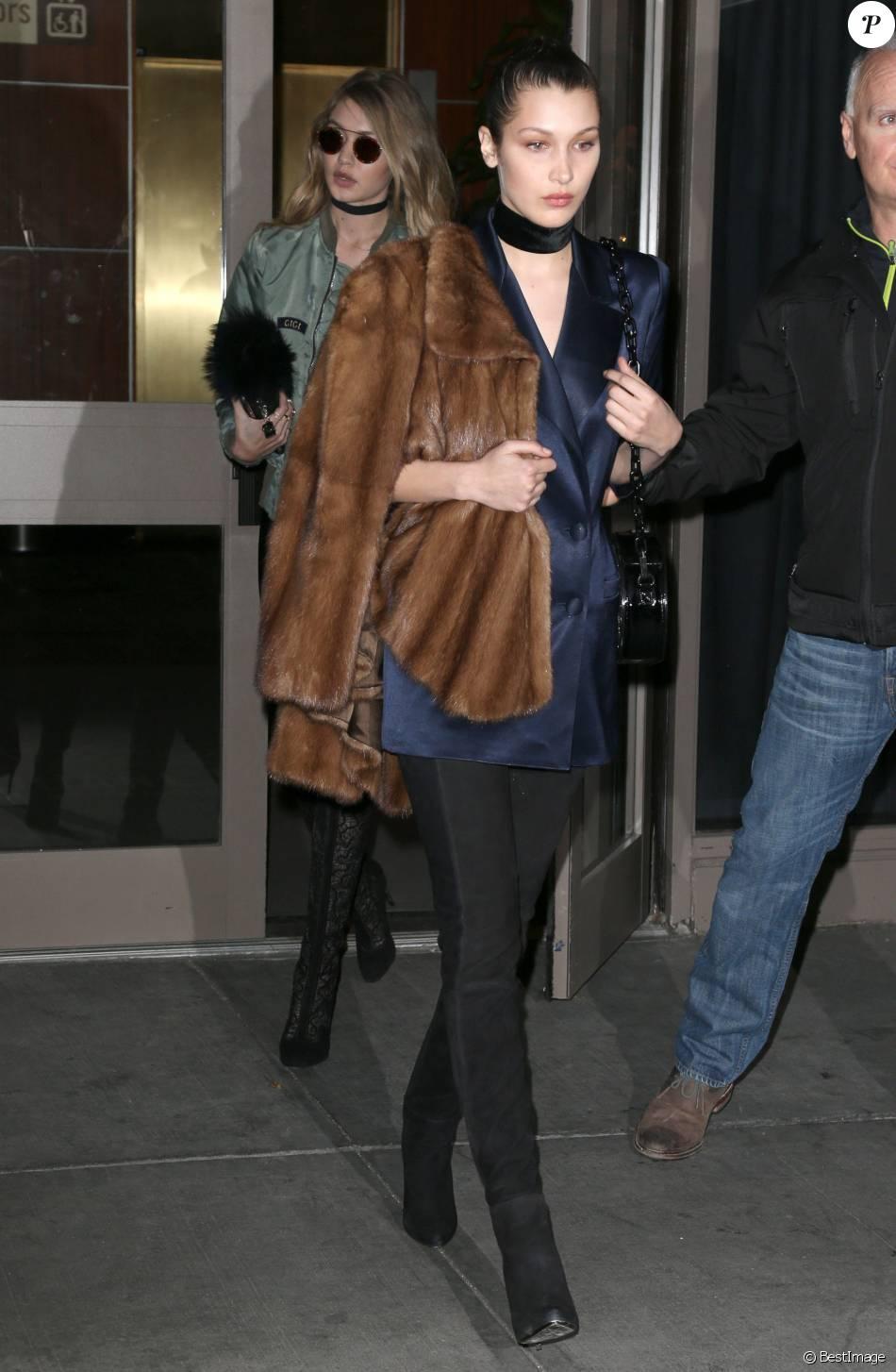 Bella Hadid, Gigi Hadid arrivent arrivent au défilé de mode Yeezy de Kanye West à New York, le 11 février 2016.