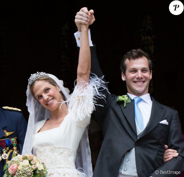 Princesse Alix de Ligne & Guillaume de Dampierre - Mariage de la princesse Alix de Ligne et Guillaume de Dampierre, en l'église Saint-Pierre à Beloeil, en Belgique. Le 18 juin 2016