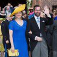 Princesse Stéphanie de Luxembourg & le prince Guillaume de Luxembourg - Mariage de la princesse Alix de Ligne et Guillaume de Dampierre, en l'église Saint-Pierre à Beloeil, en Belgique. Le 18 juin 2016