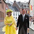 Princesse Sybille & prince Guillaume de Luxembourg - Mariage de la princesse Alix de Ligne et Guillaume de Dampierre, en l'église Saint-Pierre à Beloeil, en Belgique. Le 18 juin 2016