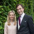 Prince Amedeo de Belgique & sa femme Elisabetta 'Lili' Rosboch von Wolkenstein - Mariage de la princesse Alix de Ligne et Guillaume de Dampierre, en l'église Saint-Pierre à Beloeil, en Belgique. Le 18 juin 2016