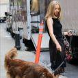 Amanda Seyfried promène son adorable chien Finn dans les rues de New York, le 28 juin 2016.