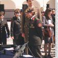 La princesse Aisha de Jordanie avec Felipe d'Espagne en mai 2001 au palais du Pardo à Madrid.