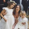 Alessandra Ambrosio et ses enfants Anja et Noah - Mariage d'Ana Beatriz Barros et Karim El Chiaty à Mykonos. Juillet 2016.