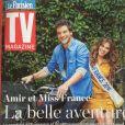 """Amir et Iris, Miss France 2016, en couverture de """"TV Magazine"""", en kiosques le 15 juillet 2016."""