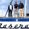 Pierre Casiraghi, vice-président du Yacht Club de Monaco, lors de la conférence de presse de présentation avec Giovanni Soldini du bateau Maserati Multi70 skippé par Giovanni Soldini au Yacht Club de Monaco le 29 juin 2016