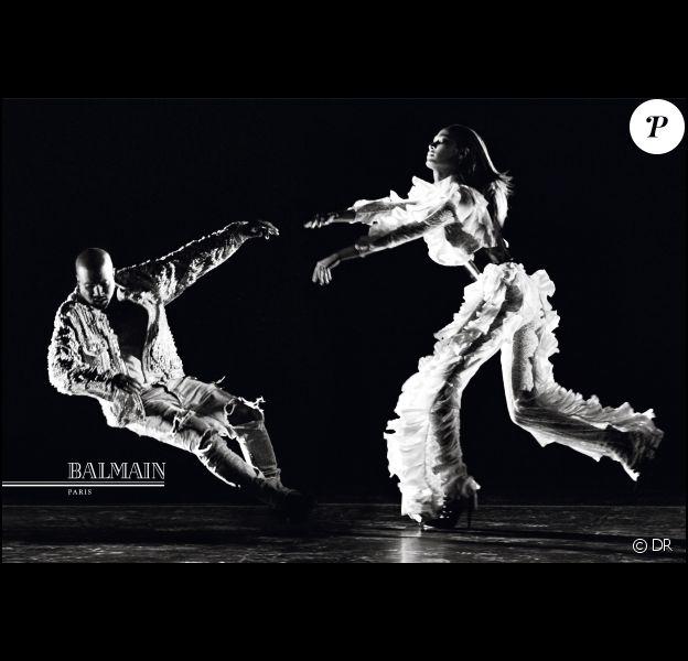 Kanye West et Joan Smalls figurent sur la nouvelle campagne publicitaire de Balmain. Photo par Steven Klein.