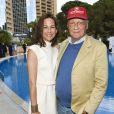 """Niki Lauda et sa femme Birgit - """"Amber Lounge Fashion and Auction Party"""" à l'hôtel Méridien à Monaco, le 22 mai 2015."""