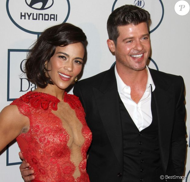 Paula Patton, Robin Thicke - 56 eme Soiree pre-Grammy and Salute To Industry Icons au Beverly Hilton Hotel de Beverly Hills le 25 janvier 2014