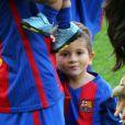 Lionel Messi et ses enfants Mateo et Thiago- Match FC Barcelone - Betis Seville au Camp Nou. Barcelone, le 20 août 2016.
