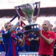 Lionel Messi et Andres Iniesta- Match FC Barcelone - Betis Seville au Camp Nou. Barcelone, le 20 août 2016.