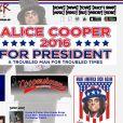 """Alice Cooper a annoncé le 23 août 2016 sa candidature à la Maison Blanche, """"un homme perturbé pour une époque perturbée""""..."""