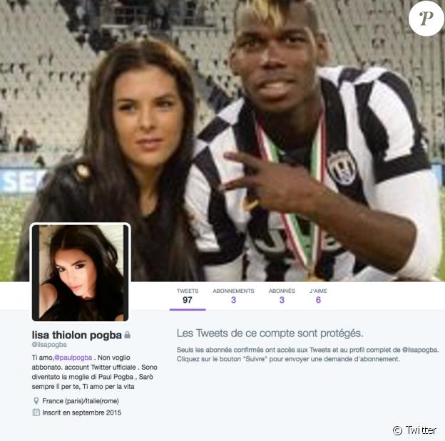Le compte Twitter de Lisa Thiilon est privé mais la jeune s'y présente bien comme la compagne, voire même l'épouse, du footballeur Paul Pogba.