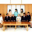 La famille impériale du Japon lors d'une séance photographique de famille pour la nouvelle année au palais impérial à Tokyo, le 1er janvier 2016. L'empereur du Japon Akihito (3ème à gauche), l'impératrice Michiko (4ème à gauche)et le reste de la famille la princesse héritière Masako, le prince héritier Naruhito, le prince Akishino, le prince Hisahito, la princesse Kiko, (2d rang) la princesse Aiko, la princesse Mako et la princesse Kako