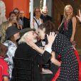 Martin Landau et Winona Ryder - Tim Burton laisse ses empreintes dans le ciment hollywoodien au TCL Chinese Theater à Hollywood, le 8 septembre 2016