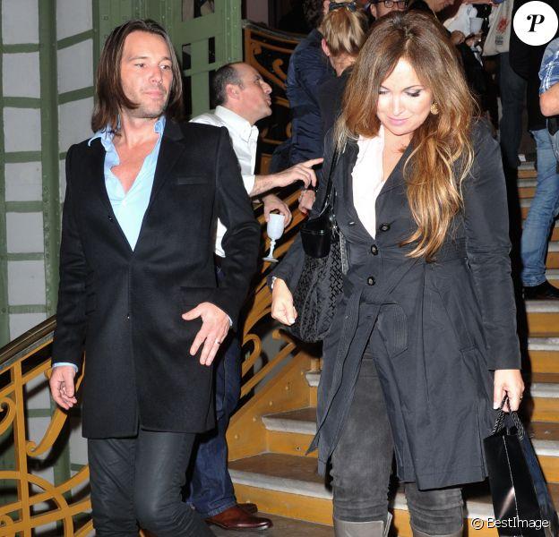 Hélène Segara et son mari Mathieu Lecat lors de la soirée d'inauguration de la FIAC 2013 (Foire Internationale d'Art Contemporain) au Grand Palais à Paris, le 23 octobre 2013.
