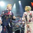 Exclusif - Marionnettes de Donald Trump et Hillary Clinton lors du concert de Alice Cooper à l'O2 Arena de Londres, le 18 juin 2016