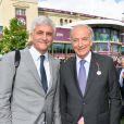 Hervé Morin et Bertrand Bélinguier au 95ème Qatar Prix de l'Arc de Triomphe à l'Hippodrome de Chantilly le 2 octobre 2016.