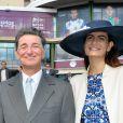 Edouard de Rothschild et Irène Salvador au 95ème Qatar Prix de l'Arc de Triomphe à l'Hippodrome de Chantilly le 2 octobre 2016.