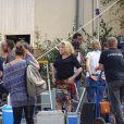 """Exclusif - Catherine Deneuve - Catherine Deneuve et Gérard Depardieu sur le tournage du film """"La bonne Pomme"""" sous la direction de la réalisatrice Florence Quentin à Flagy près de Fontainebleau le 14 septembre 2016"""