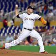 Jose Fernandez, lanceur des Miami Marlins en MLB (ici le 24 août au Marlins Park face aux Kansas City Royals), a trouvé la mort à 24 ans dans un accident de bateau à Miami le 25 septembre 2016.