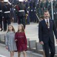 Le roi Felipe VI d'Espagne était accompagné de sa femme la reine Letizia d'Espagne et leurs filles la princesse Leonor des Asturies et l'infante Sofia le 17 novembre 2016 au Parlement (Palacio de los Cortes) à Madrid pour l'inauguration de la XIIe législature de l'Espagne.