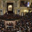 Le roi Felipe VI d'Espagne était accompagné de sa femme la reine Letizia d'Espagne et leurs filles la princesse Leonor des Asturies et l'infante Sofia, très attentives lors des discours prononcés dans l'hémicycle, le 17 novembre 2016 au Parlement (Palacio de los Cortes) à Madrid pour l'inauguration de la XIIe législature de l'Espagne.