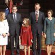 La princesse Leonor des Asturies et l'infante Sofia d'Espagne accompagnaient le roi Felipe VI et la reine Letizia le 17 novembre 2016 au Parlement (Palacio de los Cortes) à Madrid pour l'inauguration de la XIIe Législature de l'Espagne.