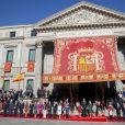 Le roi Felipe VI d'Espagne et sa femme la reine Letizia d'Espagne étaient accompagnés de leurs filles la princesse Leonor des Asturies et l'infante Sofia le 17 novembre 2016 au Parlement (Palacio de los Cortes) à Madrid pour l'inauguration de la XIIe législature de l'Espagne.