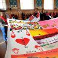 """La princesse Stéphanie de Monaco et sa fille Camille Gottlieb participent au déploiement des """"Courtepointes"""" en mémoire des victimes du SIDA, au Musée Océanographique de Monaco, le 28 novembre 2016. L'opération """"Courtepointes"""" (sixième édition), est un travail artistique sur toile, individuel et collectif qui rend hommage aux personnes disparues du Sida. Cette démarche de mémoire a été initiée en 1987 par la fondation """"Names Project Aids Memorial Quilt"""" afin d'illustrer les ravages provoqués par cette maladie. Chaque courtepointe comprend huit toiles cousues entre elles, sur une surface de 4m x 4m ; elles portent toutes le nom d'une personne disparue et ont toutes été réalisées par des personnes de FAM, la plupart d'entre elles vivant avec le VIH. © Bruno Bébert / Bestimage  President of Fight Aids Monaco and U.N. Aids Ambassador, Princess Stephanie of Monaco and her daughter, Camille Gottlieb, attend 'The Courtpointes' event at Oceanographic Museum in Monaco, on November 28, 2016. This is to commemorate the lifes of persons lost to AIDS. This action was initiated since 1987 by 'Names Project Aids Memorial Quilt' foundation. The AIDS Memorial Quilt measures approximately twelve feet square, and a typical block consists of eight individual three foot by six foot panels sewn together.28/11/2016 -"""