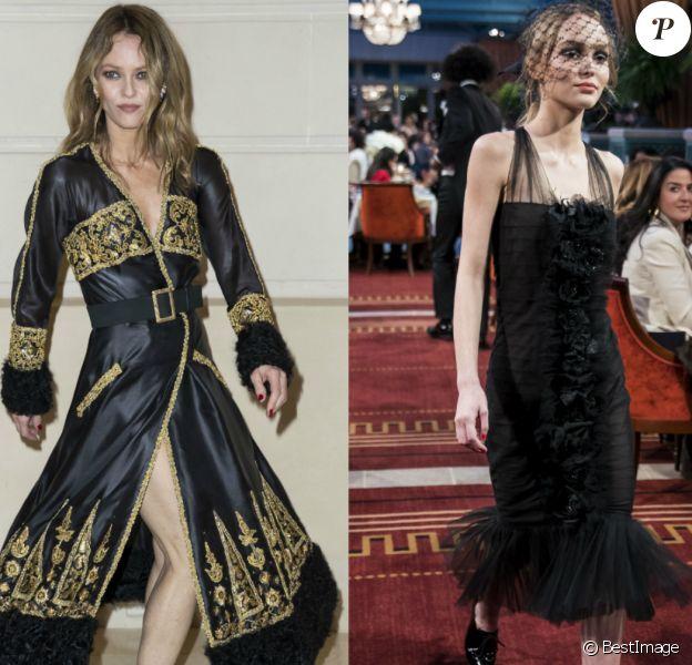 Vanessa Paradis vs. Lily-Rose Depp au défilé Chanel Métiers d'Art 2016/2017 à l'hôtel Ritz à Paris le 6 décembre 2016. © Olivier Borde / Bestimage