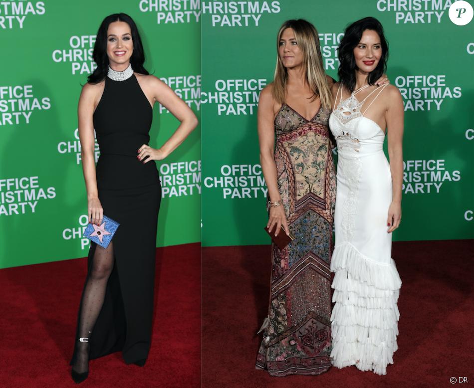 Katy Perry, Jennifer Aniston et Olivia Munn à l'avant-première du film Joyeux Bordel le 7 décembre 2016 à Los Angeles (photomontage)
