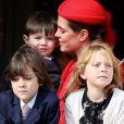 Charlotte Casiraghi et son fils Raphaël - La famille princière de Monaco au balcon lors de la Fête Monégasque à Monaco, le 19 novembre 2016. © Bruno Bebert/Dominique Jacovides/Bestimage