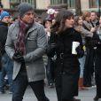 """Dean Geyer, Lea Michele sur le Tournage de la serie """"Glee"""" a New York, le 18 novembre 2012."""