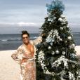 Eva Longoria en bikini pour fêter Noël. Photo postée sur Instagram le 25 décembre 2016.