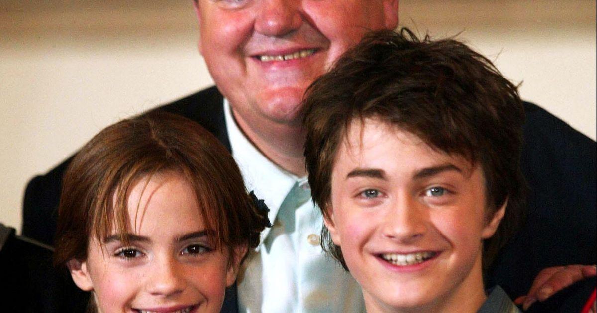 Robbie Coltrane, Emma Watson et Daniel Radcliffe en 2002....