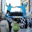 """""""Adriana Karembeu est la marraine de la 9eme édition de l'Africa Eco Race 2017, un rallye au départ de Monaco pour Dakar. C'est elle qui a donné le départ en compagnie de Jean Louis Schlesser, l'un des organisateurs de ce rallye tout terrain africain, qui pour la seconde fois prend son départ depuis la Principauté sur le quai Antoine 1er, face au Stars'n'Bar le 31 décembre 2016. Les concurrents sont attendus le 14 janvier 2017 à Dakar après avoir traversés le Maroc, la Mauritanie et le Sénégal. © Bruno Bébert / Bestimage"""""""
