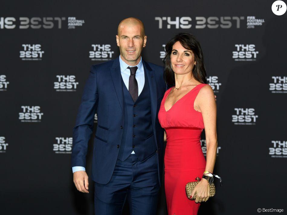 Zinedine Zidane et sa femme Véronique au photocall des FIFA Football Awards à Zurich le 9 janvier 2017.