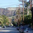 """L'iconique panneau Hollywood est devenu ""Hollyweed"", Hollywood, Los Angeles, le 1er janvier 2017."""