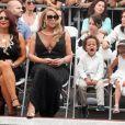 Mariah Carey et ses enfants Moroccan Cannon et Monroe Cannon sur le Walk of Fame à Hollywood, le 5 août 2015.