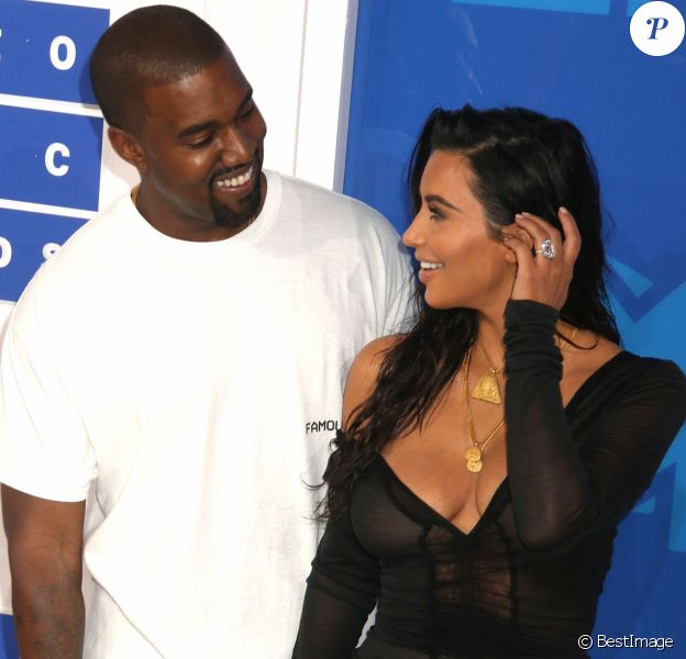Kim Kardashian et son mari Kanye West lors des MTV Video Music Awards 2016 au Madison Square Garden à New York. Le 28 août 2016 © Nancy Kaszerman / Zuma Press / Bestimage