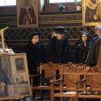 Le comte Pierre Cheremetieff et d'autres membres de la famille Romanov lors des funérailles du prince Dimitri Romanovitch de Russie en l'église orthodoxe russe St Alexandre Nevsky à Copenhague, le 10 janvier 2017.