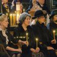 La veuve du prince Dimitri Romanovitch de Russie Dorrit Reventlow, le comte Pierre Cheremetieff et d'autres membres de la famille Romanov lors des funérailles du princerusse en l'église orthodoxe russe St Alexandre Nevsky à Copenhague, le 10 janvier 2017.
